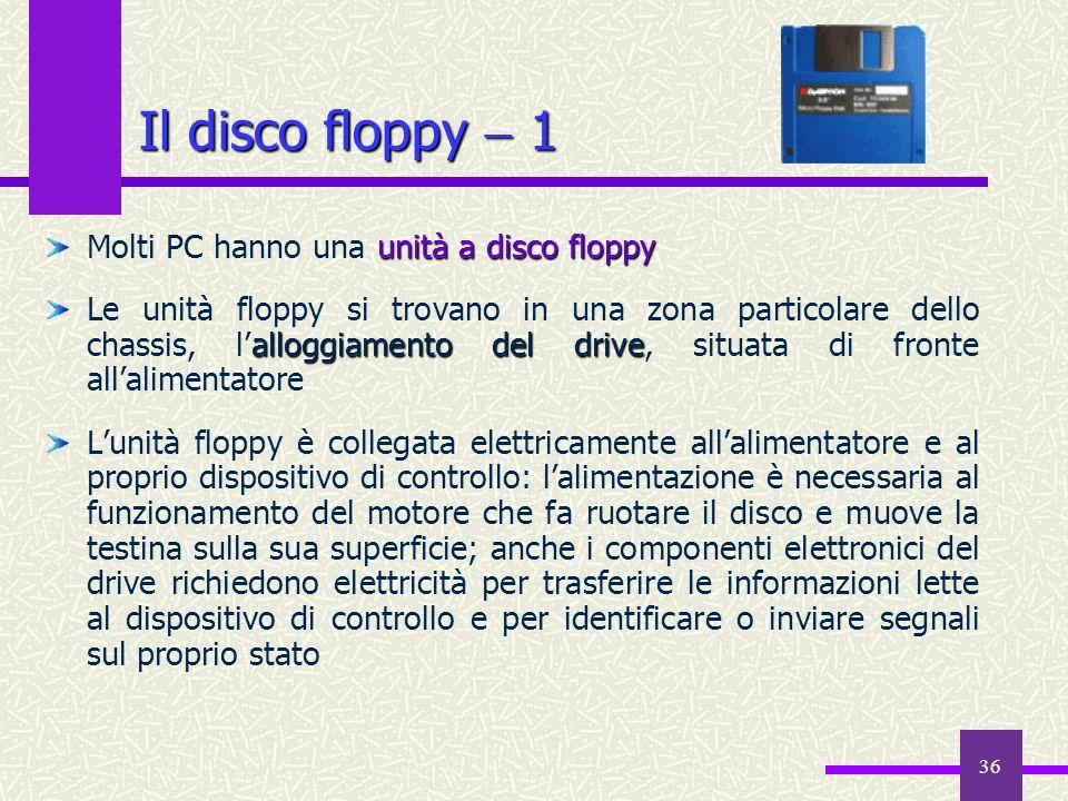 Il disco floppy  1 Molti PC hanno una unità a disco floppy