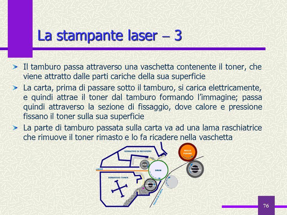 La stampante laser  3 Il tamburo passa attraverso una vaschetta contenente il toner, che viene attratto dalle parti cariche della sua superficie.