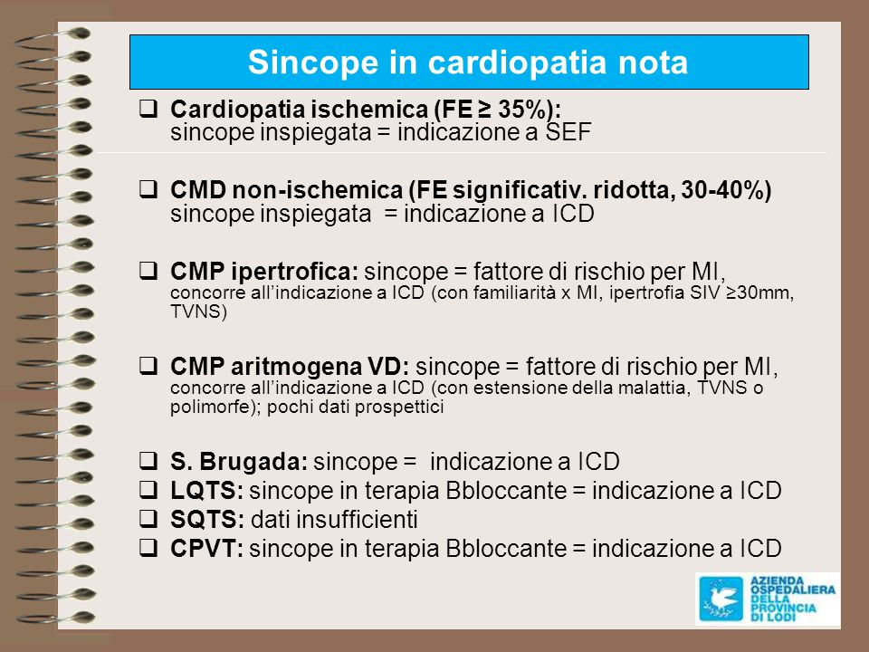 Sincope in cardiopatia nota