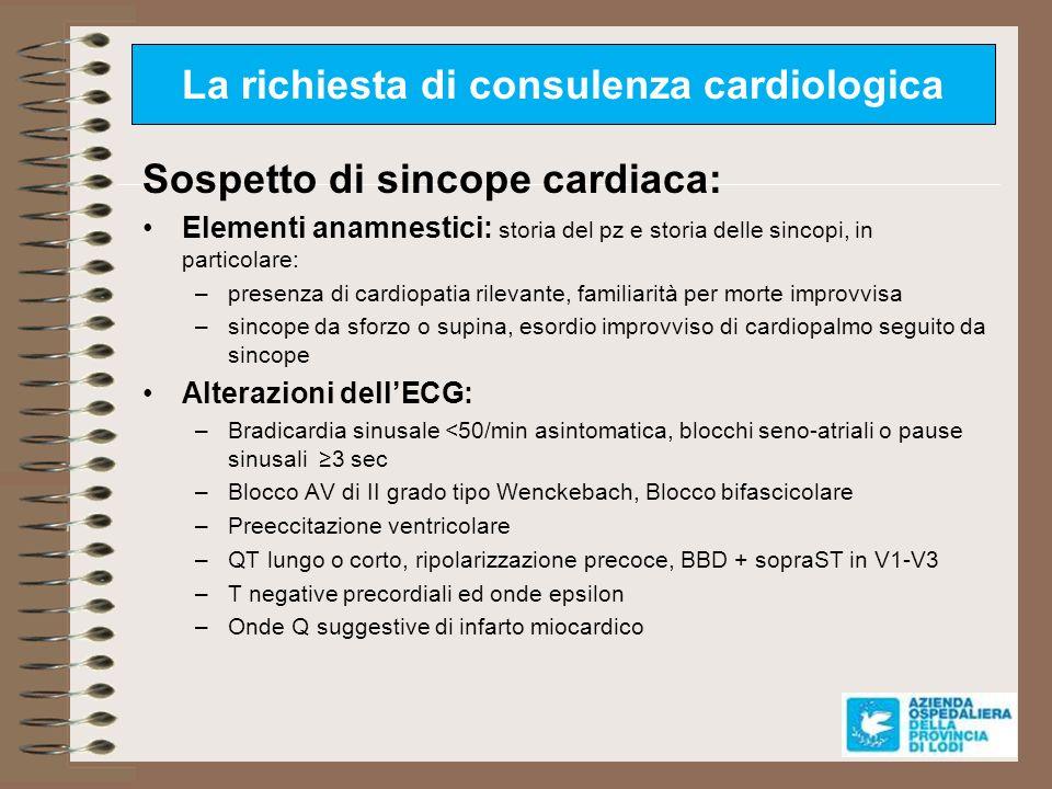 La richiesta di consulenza cardiologica