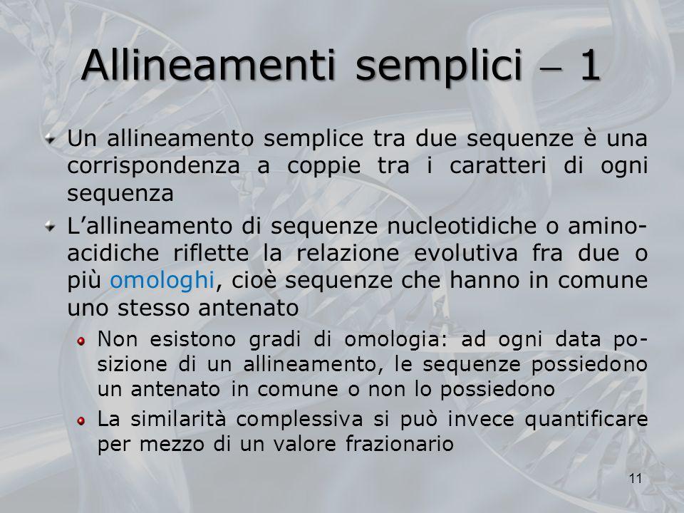 Allineamenti semplici  1