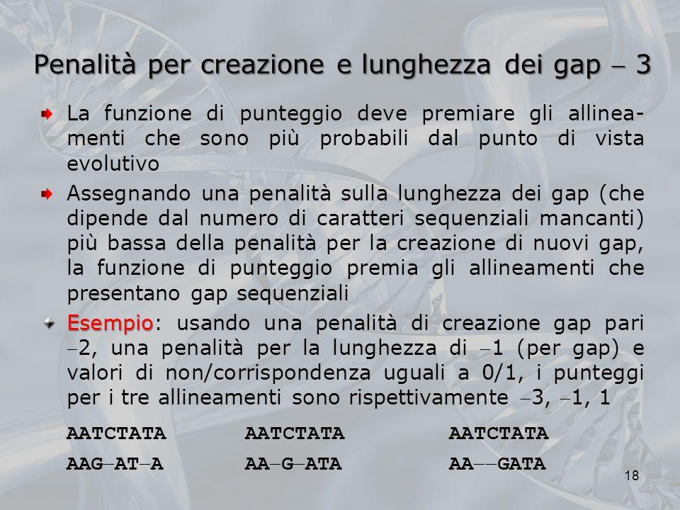 Penalità per creazione e lunghezza dei gap  3