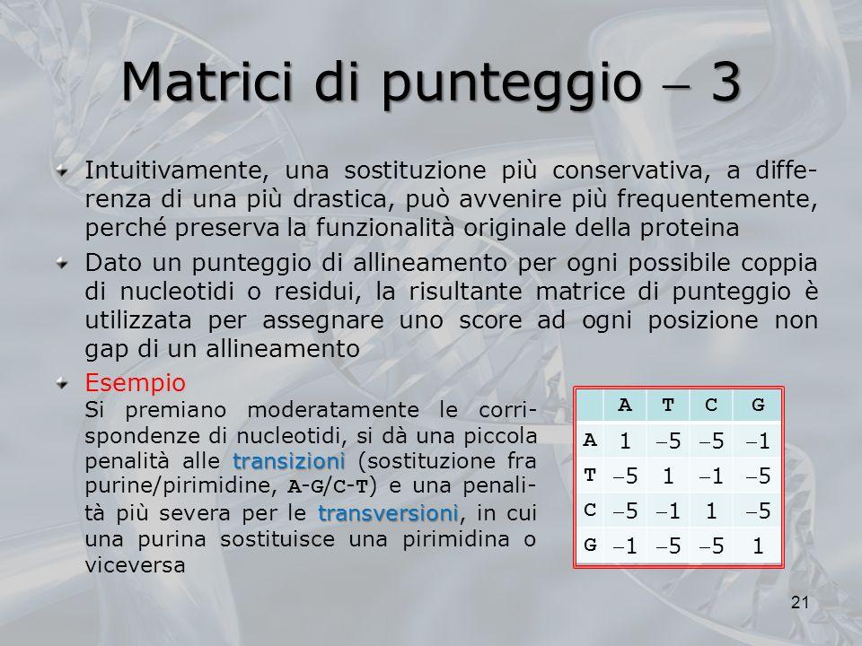 Matrici di punteggio  3
