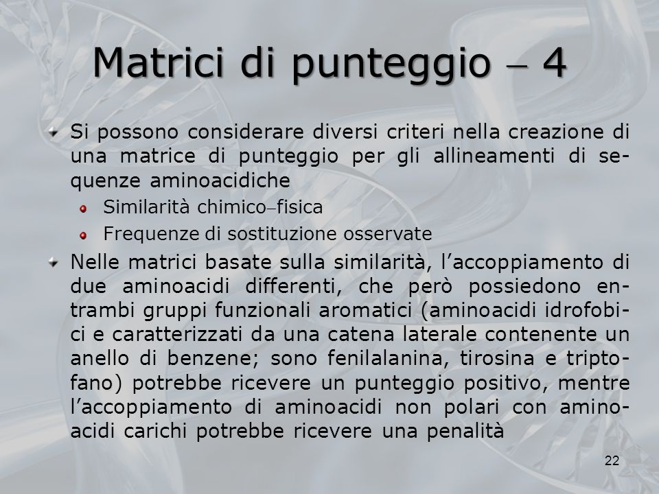 Matrici di punteggio  4