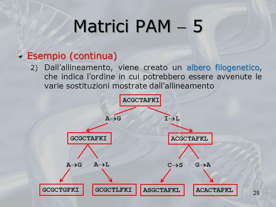 Matrici PAM  5 Esempio (continua)