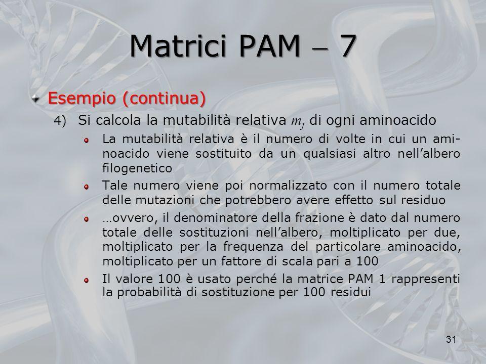 Matrici PAM  7 Esempio (continua)