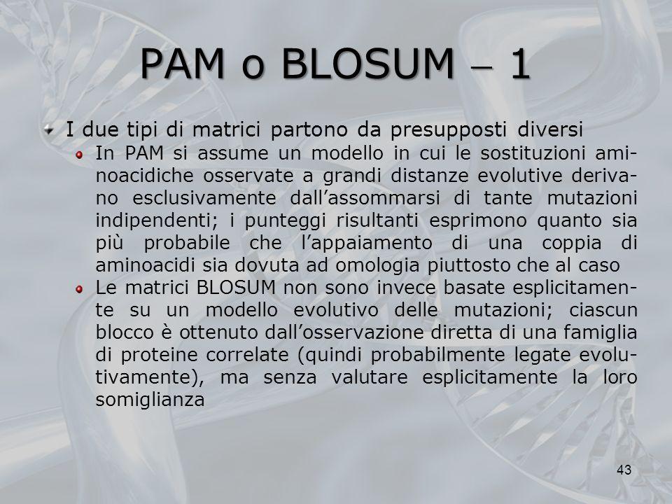 PAM o BLOSUM  1 I due tipi di matrici partono da presupposti diversi
