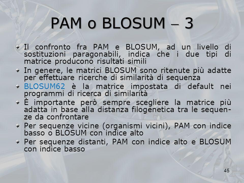 PAM o BLOSUM  3