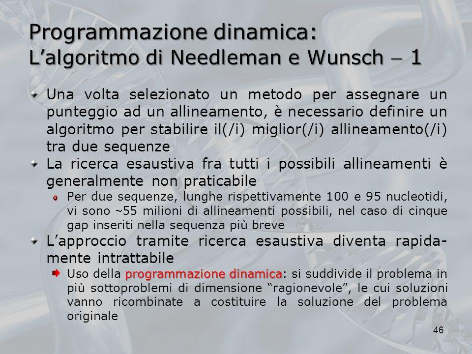 Programmazione dinamica: L'algoritmo di Needleman e Wunsch  1