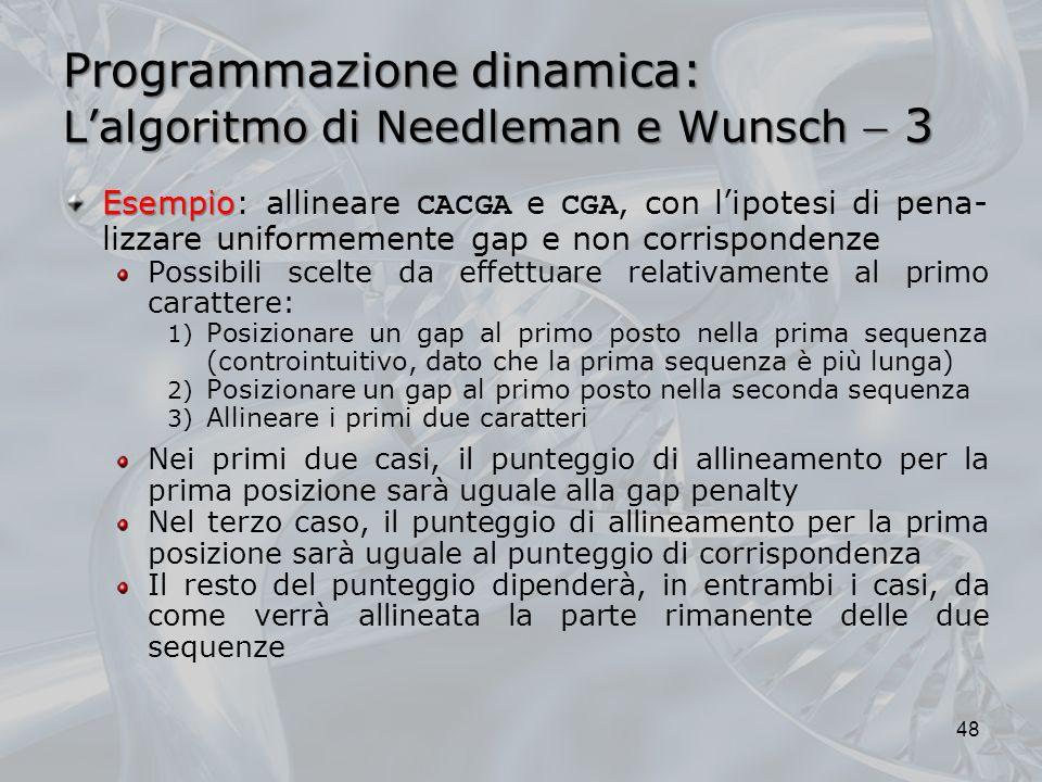 Programmazione dinamica: L'algoritmo di Needleman e Wunsch  3