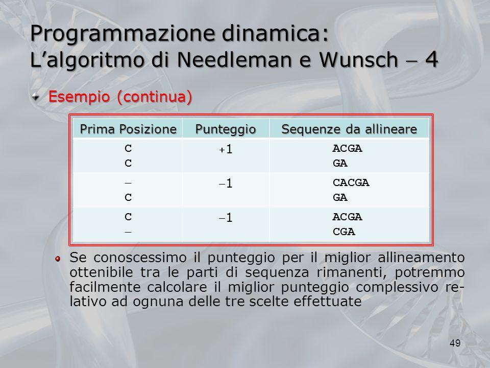 Programmazione dinamica: L'algoritmo di Needleman e Wunsch  4