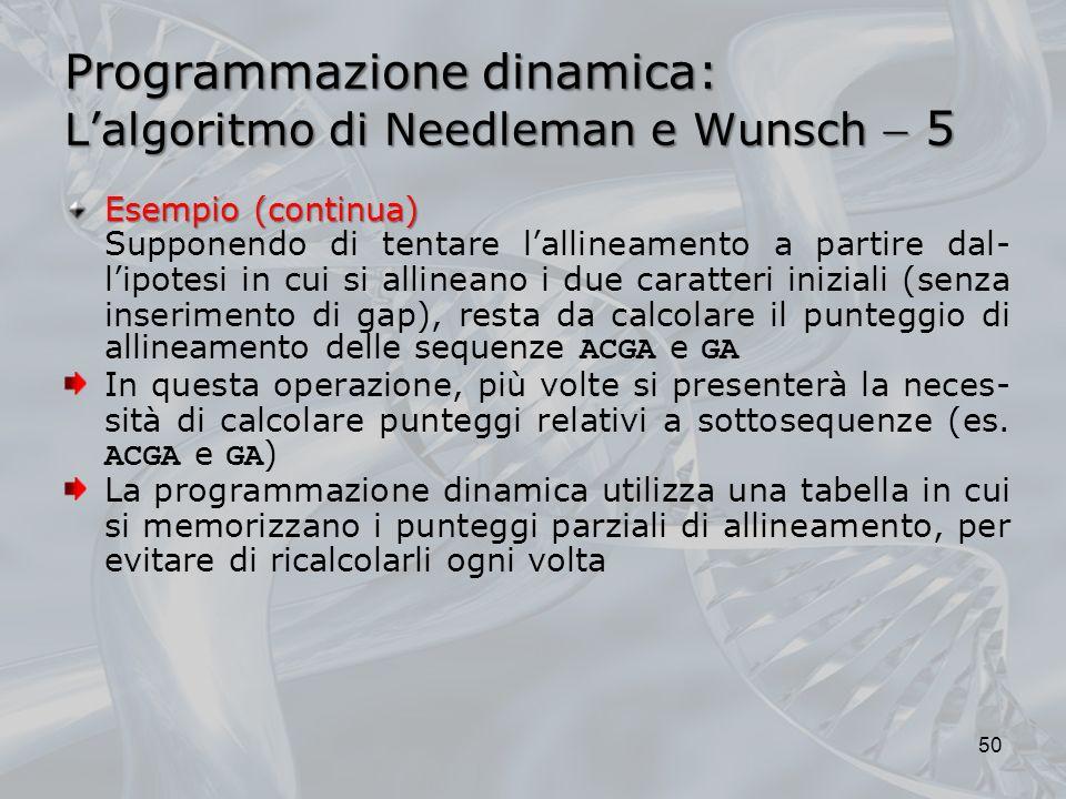 Programmazione dinamica: L'algoritmo di Needleman e Wunsch  5
