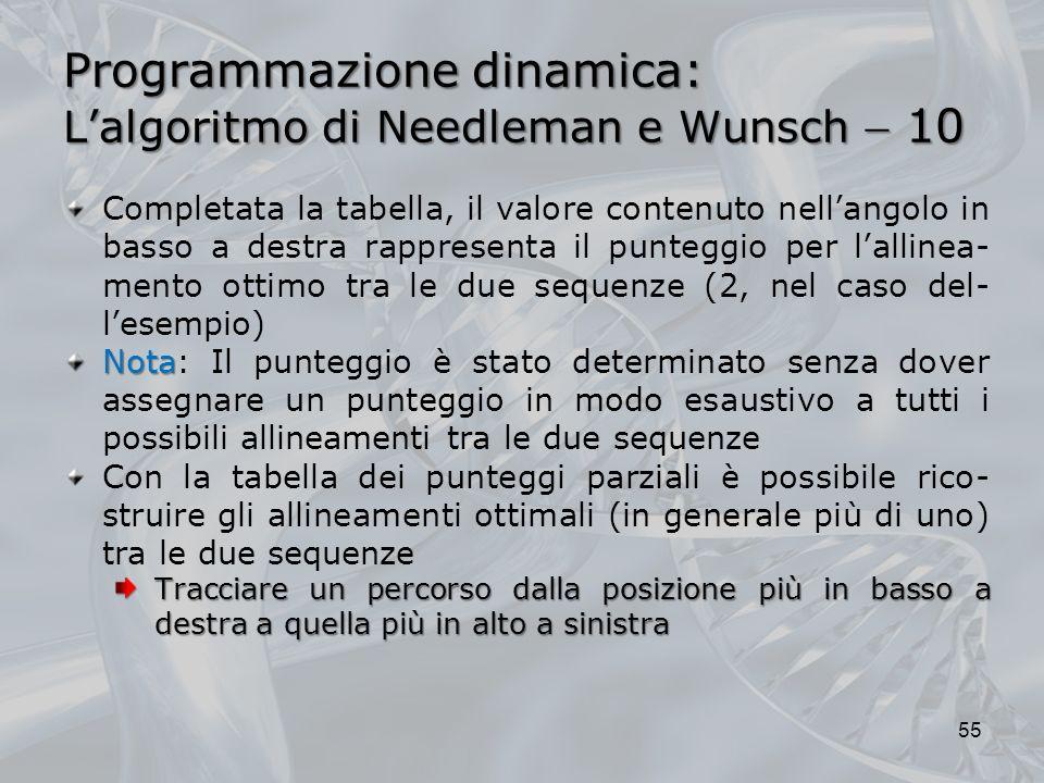 Programmazione dinamica: L'algoritmo di Needleman e Wunsch  10