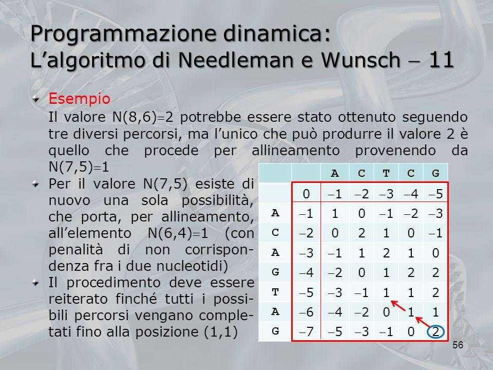 Programmazione dinamica: L'algoritmo di Needleman e Wunsch  11
