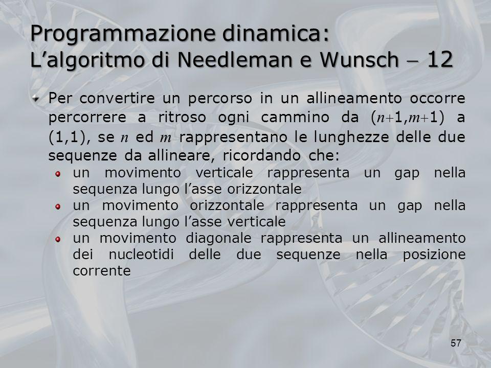 Programmazione dinamica: L'algoritmo di Needleman e Wunsch  12