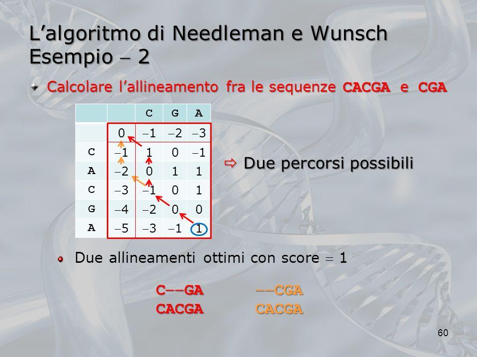 L'algoritmo di Needleman e Wunsch Esempio  2