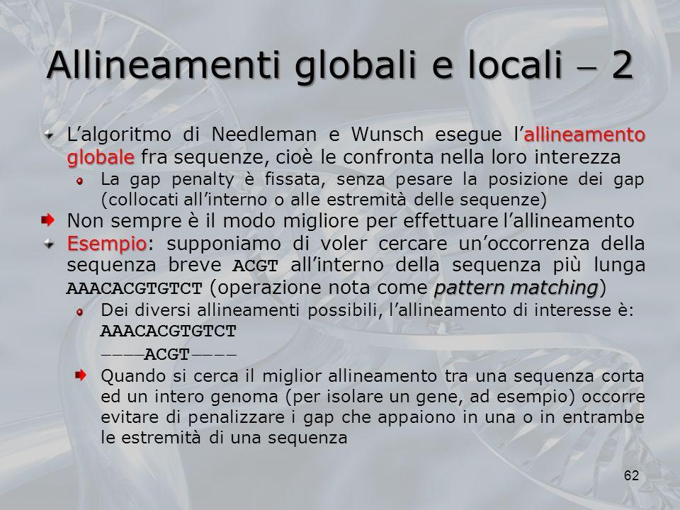 Allineamenti globali e locali  2