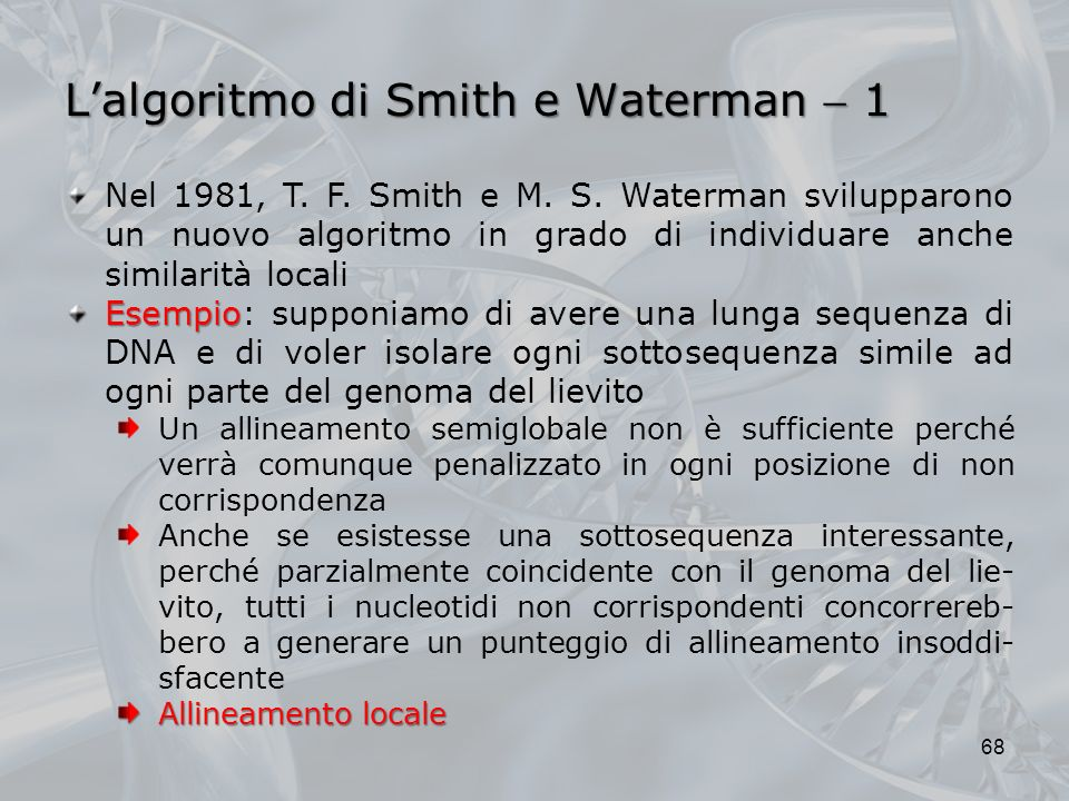 L'algoritmo di Smith e Waterman  1