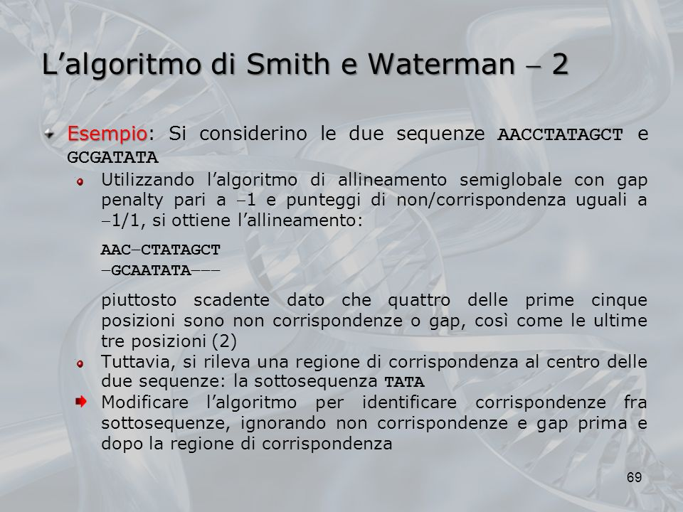 L'algoritmo di Smith e Waterman  2
