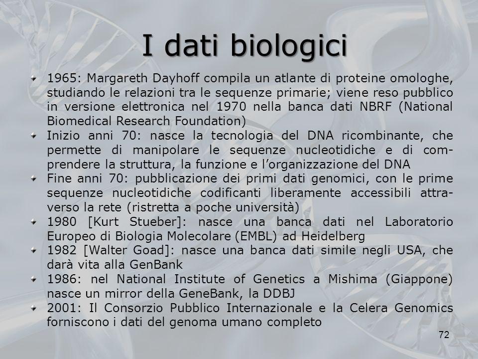 I dati biologici