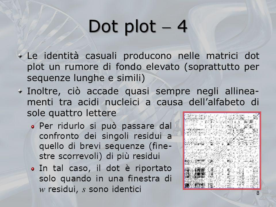 Dot plot  4 Le identità casuali producono nelle matrici dot plot un rumore di fondo elevato (soprattutto per sequenze lunghe e simili)