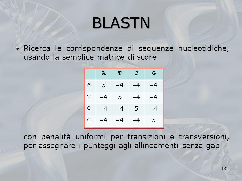 BLASTN Ricerca le corrispondenze di sequenze nucleotidiche, usando la semplice matrice di score.