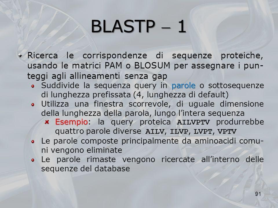BLASTP  1 Ricerca le corrispondenze di sequenze proteiche, usando le matrici PAM o BLOSUM per assegnare i pun-teggi agli allineamenti senza gap.