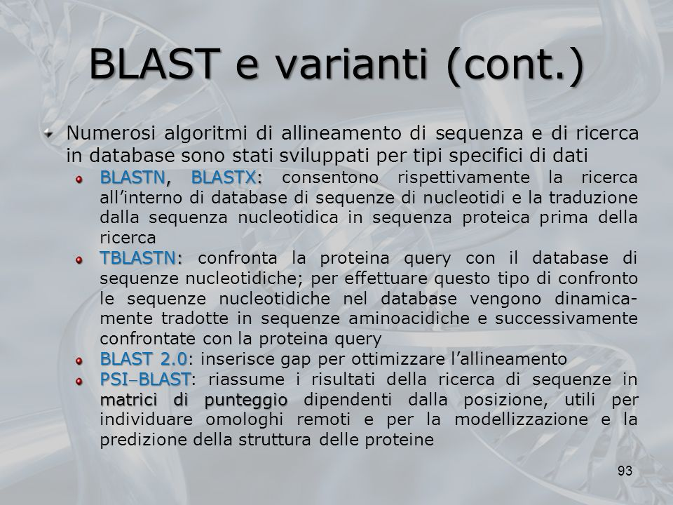 BLAST e varianti (cont.)