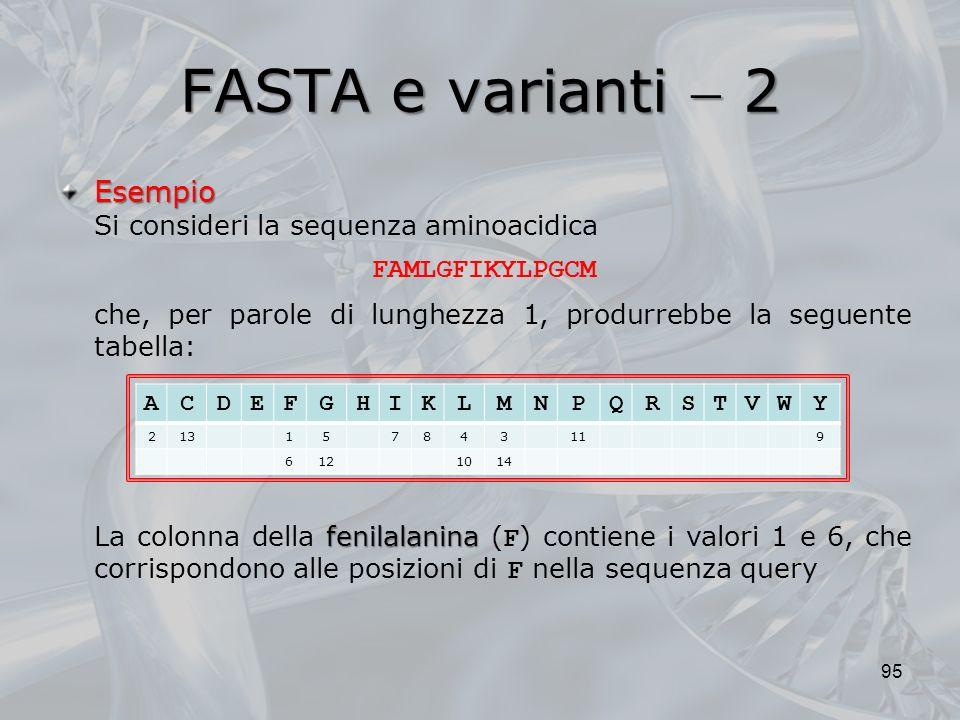 FASTA e varianti  2 Esempio Si consideri la sequenza aminoacidica