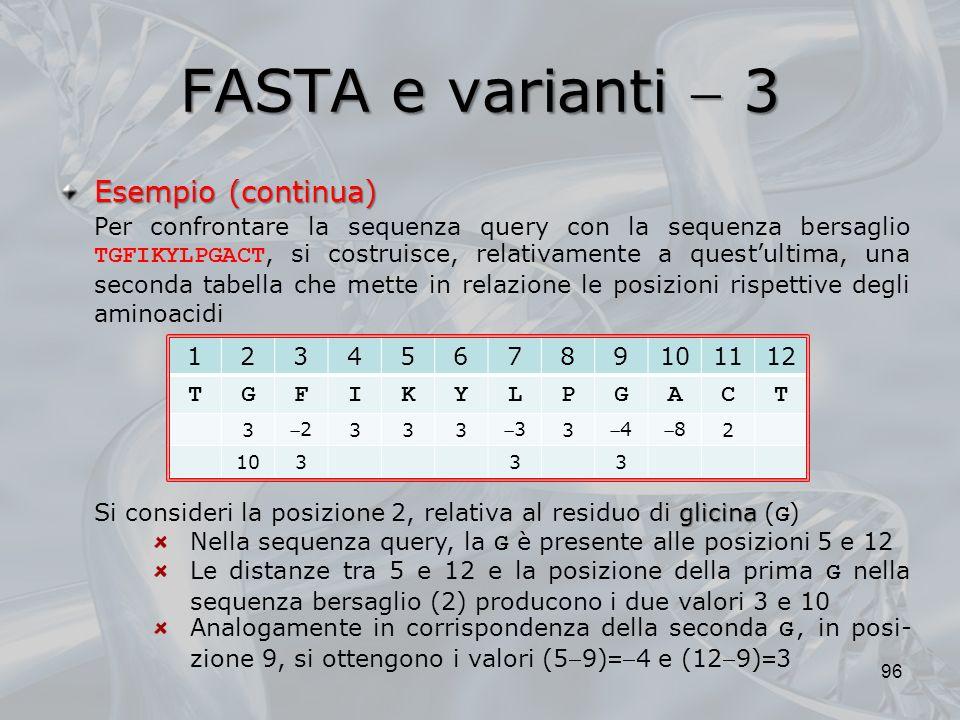 FASTA e varianti  3 Esempio (continua)
