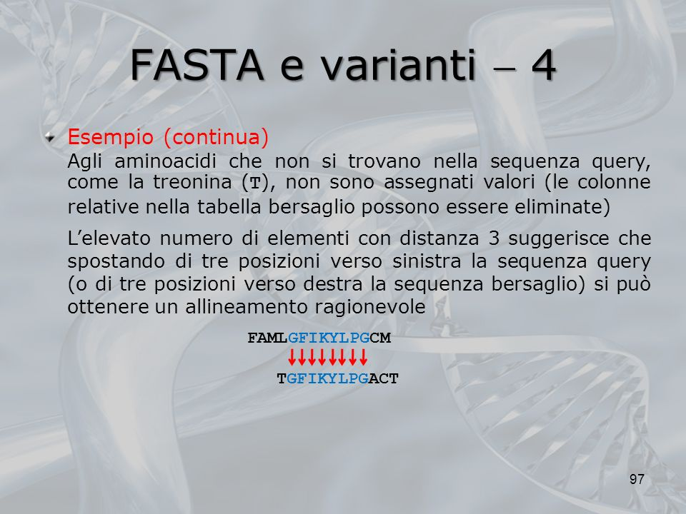 FASTA e varianti  4 Esempio (continua)