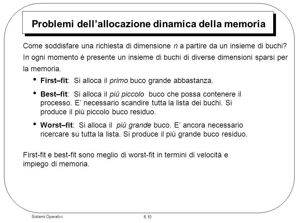 Problemi dell'allocazione dinamica della memoria