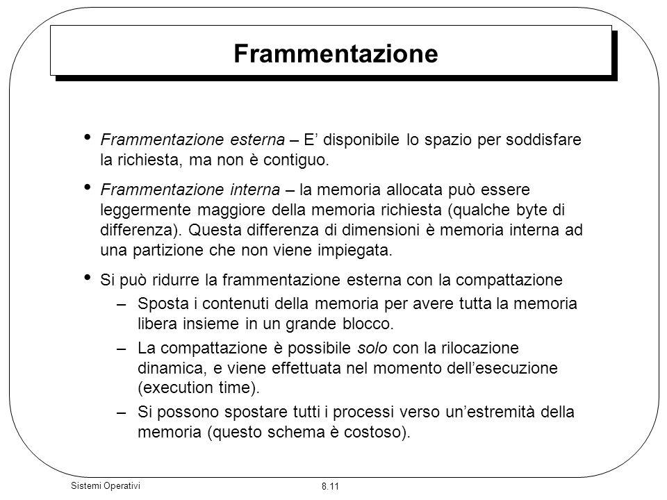 Frammentazione Frammentazione esterna – E' disponibile lo spazio per soddisfare la richiesta, ma non è contiguo.