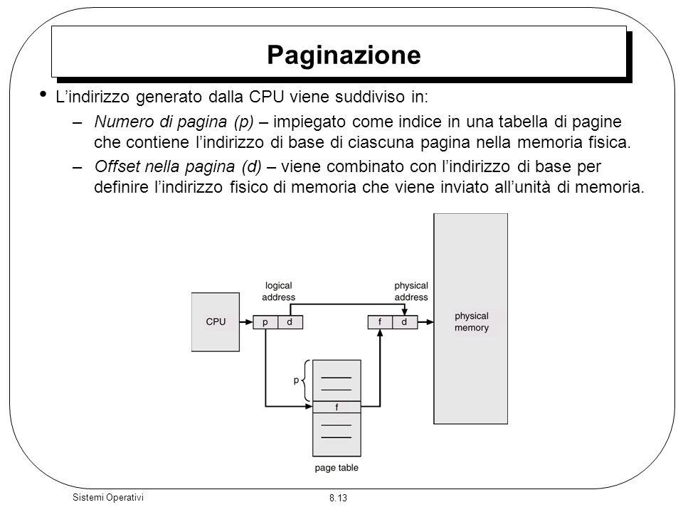 Paginazione L'indirizzo generato dalla CPU viene suddiviso in: