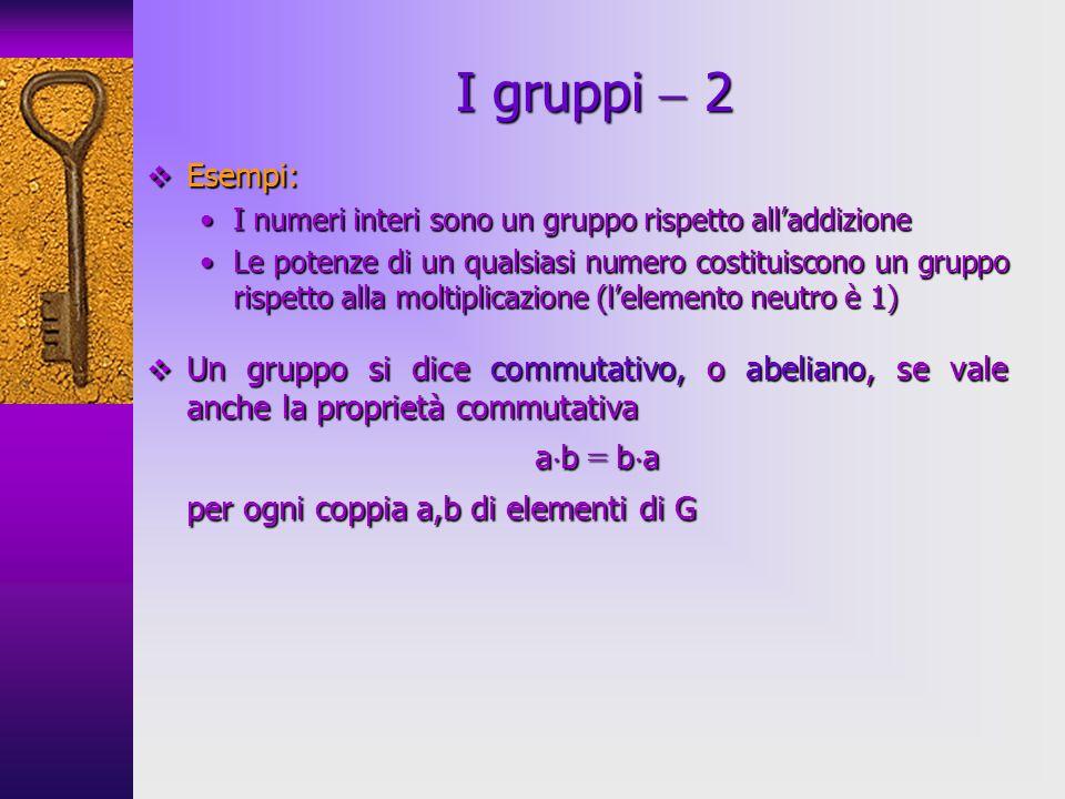 I gruppi  2 ab = ba per ogni coppia a,b di elementi di G Esempi: