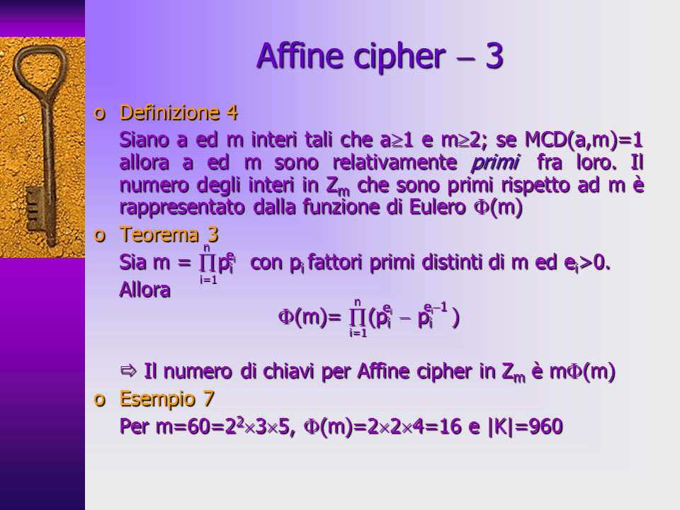 Affine cipher  3 Definizione 4