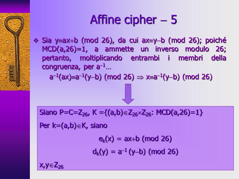 a1(ax)a1(yb) (mod 26)  xa1(yb) (mod 26)