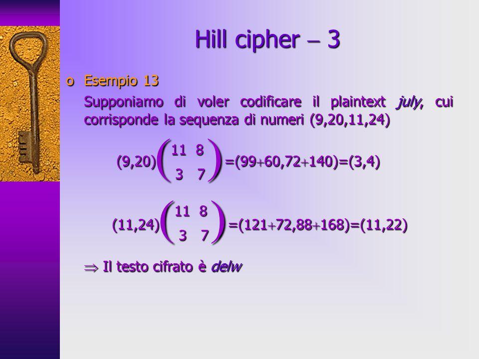 ( ) ( ) Hill cipher  3 Esempio 13