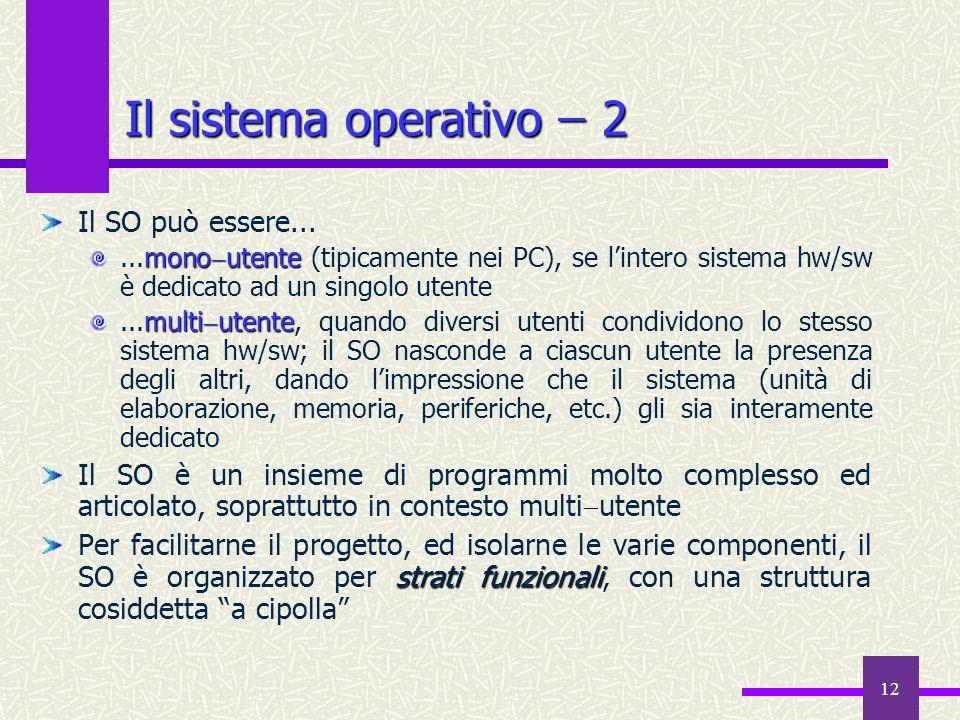 Il sistema operativo ̶ 2 Il SO può essere...