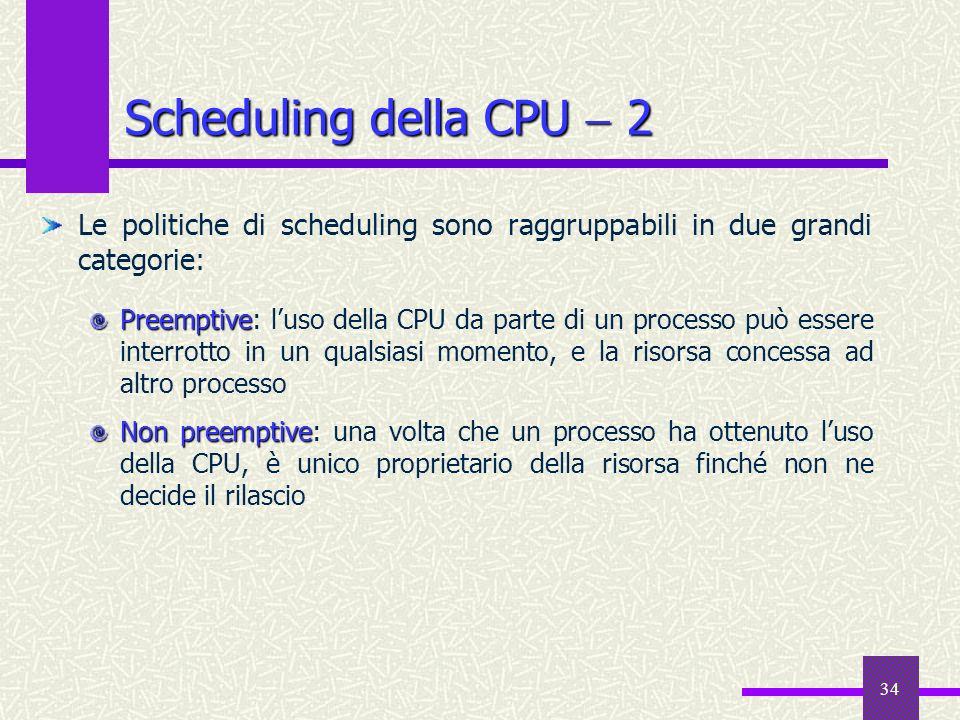 Scheduling della CPU  2 Le politiche di scheduling sono raggruppabili in due grandi categorie: