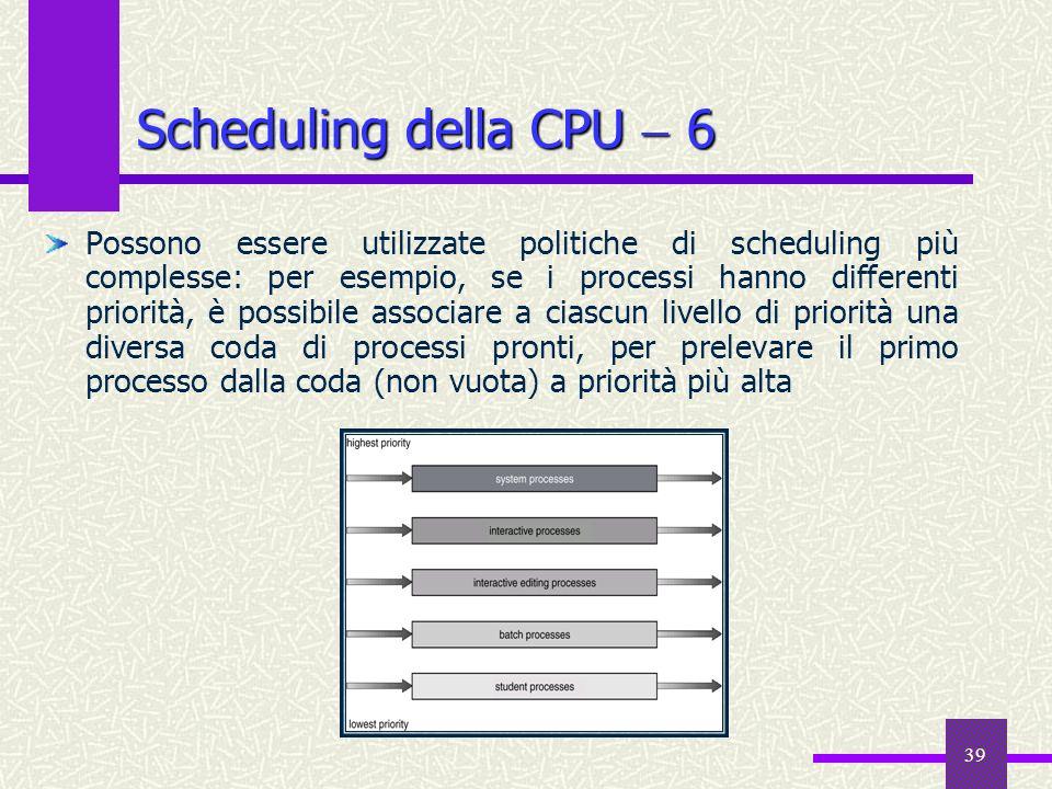 Scheduling della CPU  6