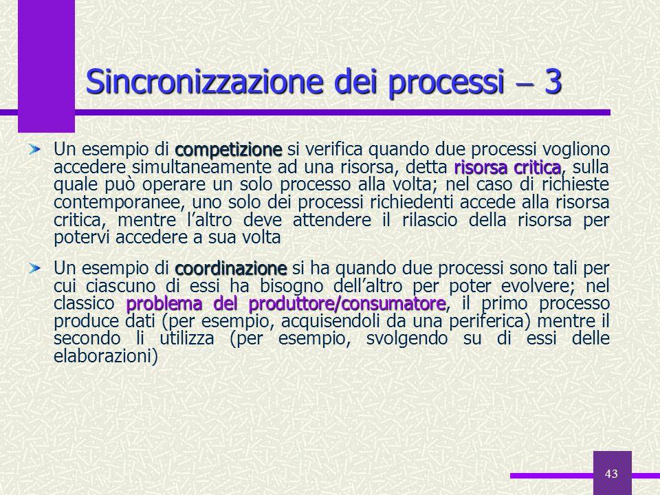 Sincronizzazione dei processi  3