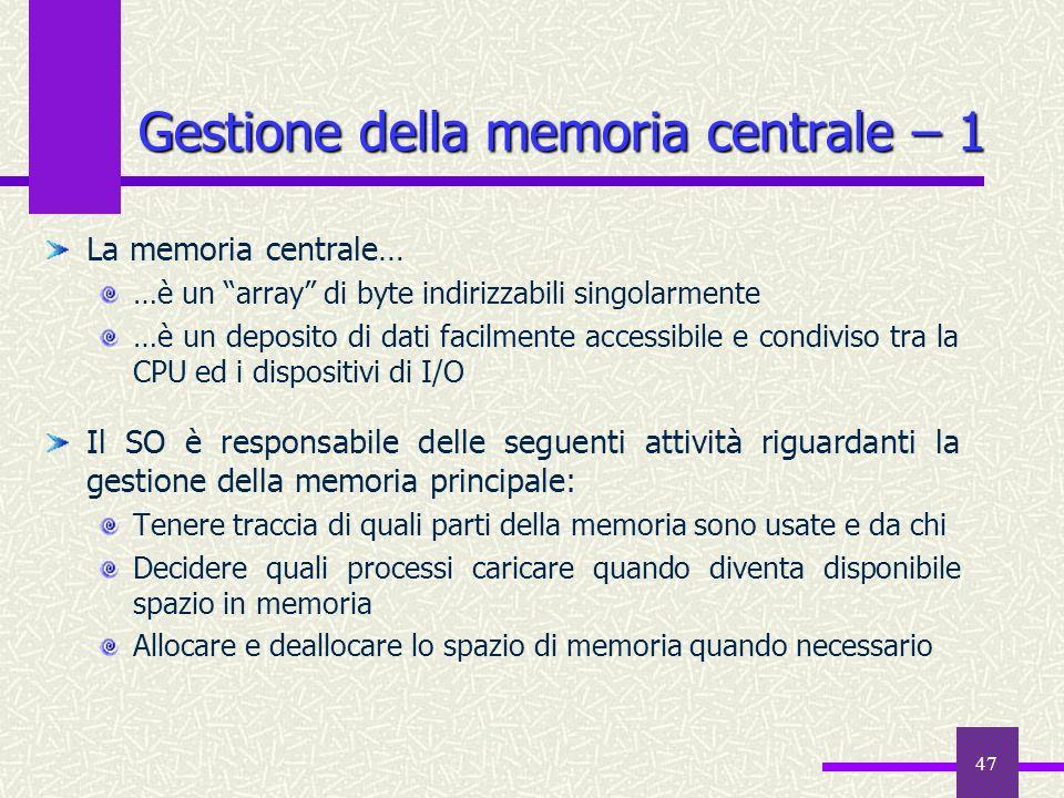 Gestione della memoria centrale – 1