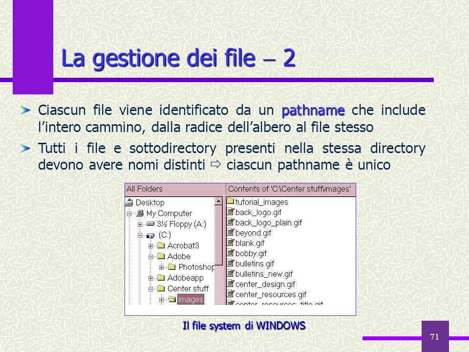 Il file system di WINDOWS