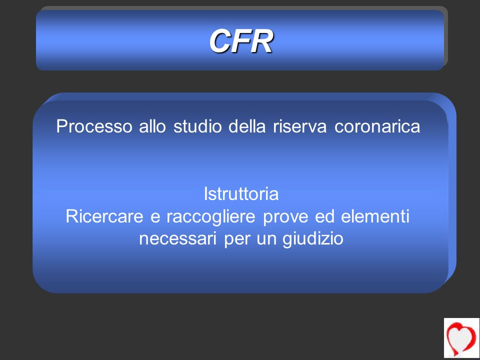 CFR Processo allo studio della riserva coronarica Istruttoria
