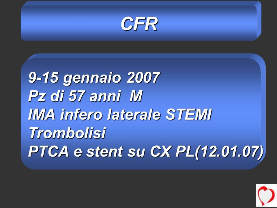 CFR 9-15 gennaio 2007 Pz di 57 anni M IMA infero laterale STEMI