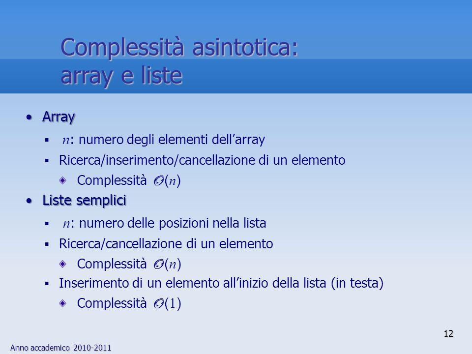Complessità asintotica: array e liste