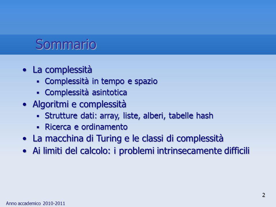 Sommario La complessità Algoritmi e complessità