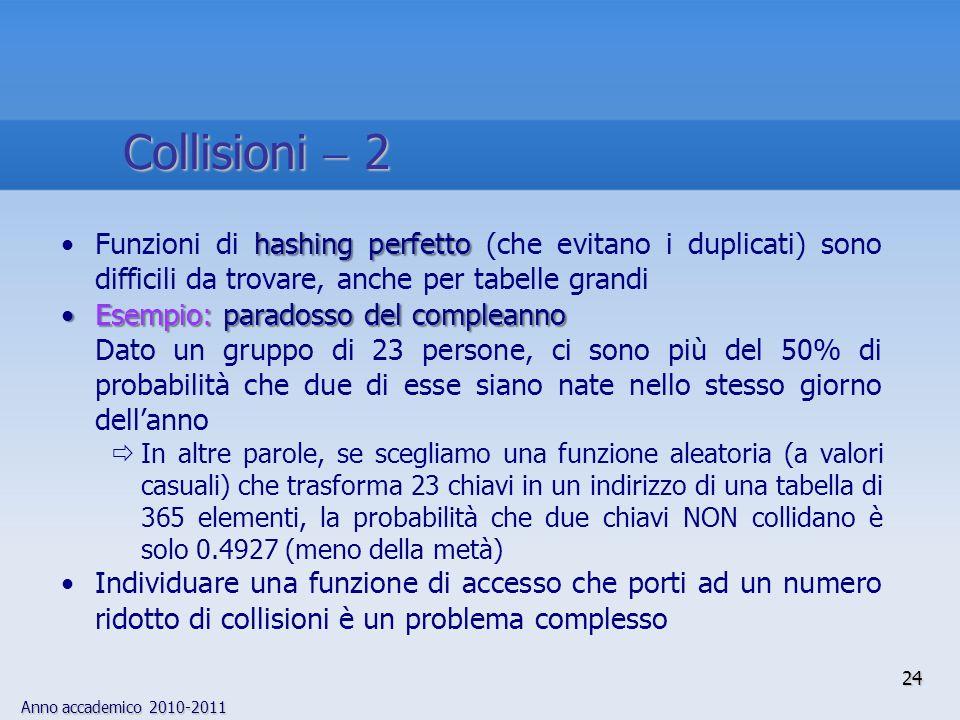 Collisioni  2 Funzioni di hashing perfetto (che evitano i duplicati) sono difficili da trovare, anche per tabelle grandi.
