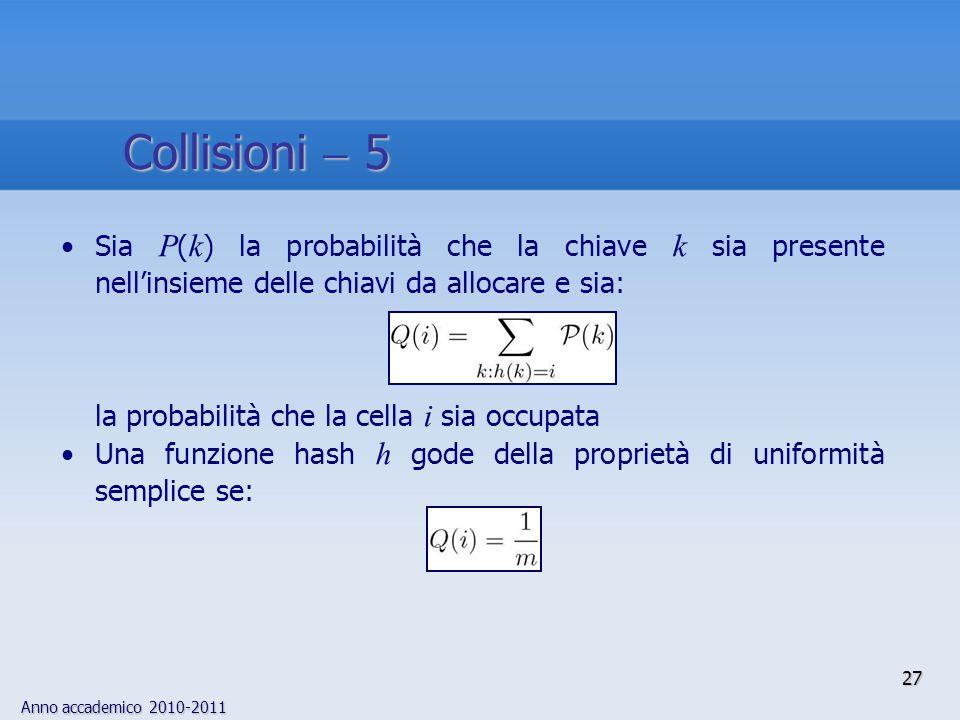 Collisioni  5 Sia P(k) la probabilità che la chiave k sia presente nell'insieme delle chiavi da allocare e sia: